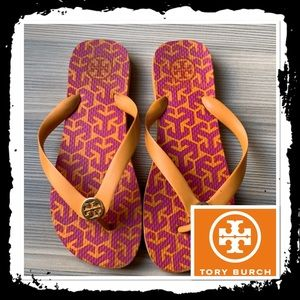 Tory Burch Orange Pink Flip Flops